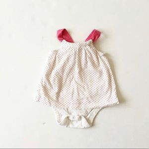 Babygap pink dot back bow body double GUC 3-6m